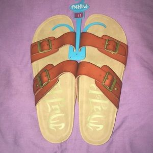 Mad Love wide double strap cork sandals size 11